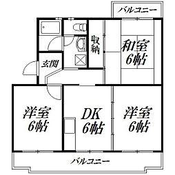 静岡県浜松市北区初生町の賃貸マンションの間取り