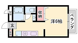 JR東海道・山陽本線 姫路駅 バス25分 西坂口下車 徒歩2分の賃貸アパート 2階ワンルームの間取り