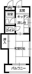 マンション 宮惣[406号室]の間取り