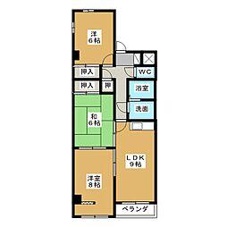 パピヨン・ヨコイII[3階]の間取り