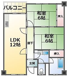 第3清涼マンション 2階2LDKの間取り