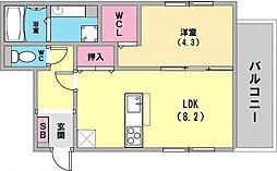 ブルーノ篠原中 2階1LDKの間取り