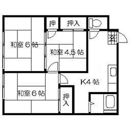 ふじアパート 1階3Kの間取り
