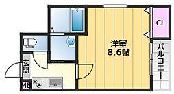 フジパレス堺南長尾7番館 1階1Kの間取り