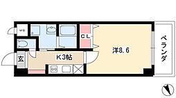 ジオステージ東山 2階1Kの間取り