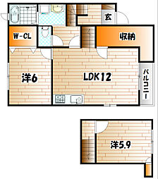エスポワ−ル高野A棟[2階]の間取り