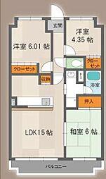シャトー三木第3 4階3LDKの間取り