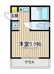 サザン宝蔵院B[1階]の間取り