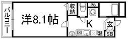 京都府京都市下京区八幡町の賃貸マンションの間取り