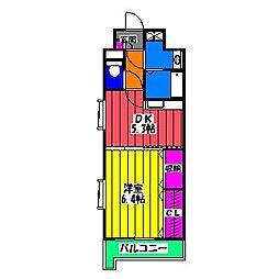 福岡県福岡市博多区三筑2の賃貸マンションの間取り