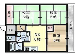 大阪府高槻市富田町6丁目の賃貸マンションの間取り