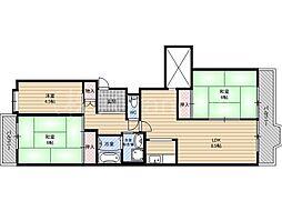 リバーサイドともぶち第一住宅第16号棟[2階]の間取り