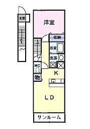 富山県富山市豊若町3丁目の賃貸アパートの間取り