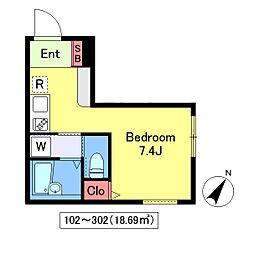 (仮)月島3丁目計画[302号室]の間取り