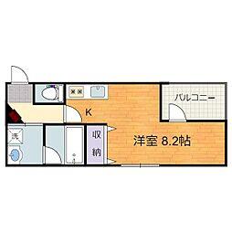 静岡鉄道静岡清水線 日吉町駅 徒歩10分の賃貸マンション 3階ワンルームの間取り