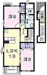 兵庫県神戸市西区中野1丁目の賃貸アパートの間取り