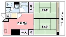 武庫川団地(UR)2号棟[2103号室]の間取り