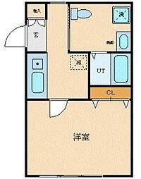 JR中央本線 西国分寺駅 徒歩2分の賃貸マンション 3階1Kの間取り