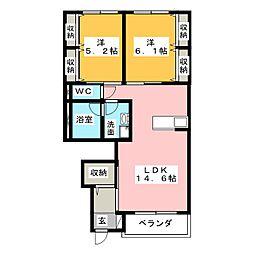 ウィステリアFII[1階]の間取り