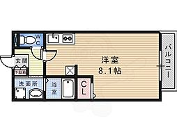 南海高野線 北野田駅 徒歩10分の賃貸アパート 1階ワンルームの間取り