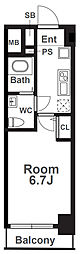 Osaka Metro千日前線 阿波座駅 徒歩1分の賃貸マンション 15階1Kの間取り