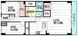 千里泉ヶ丘スカイハイツ2号棟[2階]の間取り