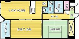 福岡県北九州市小倉北区高坊2の賃貸マンションの間取り