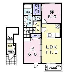 岡山県倉敷市広江1丁目の賃貸アパートの間取り