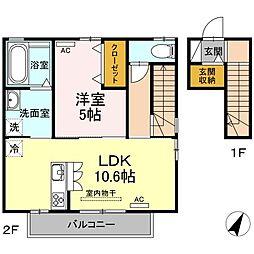 愛知県名古屋市千種区朝岡町3丁目の賃貸アパートの間取り