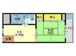 JR大阪環状線 森ノ宮駅 徒歩10分の賃貸マンション 5階1DKの間取り