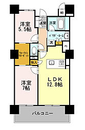 名古屋臨海高速あおなみ線 ささしまライブ駅 徒歩2分の賃貸マンション 7階2LDKの間取り