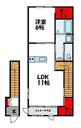 仮)南里6丁目アパート[2階]の間取り