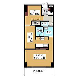 愛知県名古屋市西区上堀越町3丁目の賃貸マンションの間取り