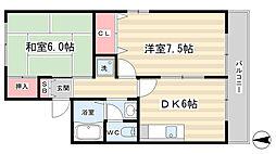 ハイツ秋桜[201号室]の間取り