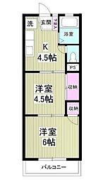 神奈川県横浜市港南区上大岡東1丁目の賃貸マンションの間取り
