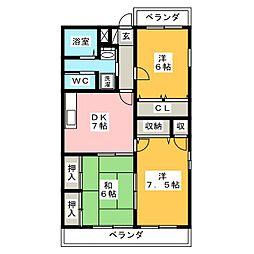 静岡県静岡市駿河区中田2丁目の賃貸マンションの間取り