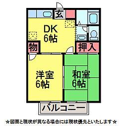 千葉県佐倉市稲荷台1丁目の賃貸アパートの間取り
