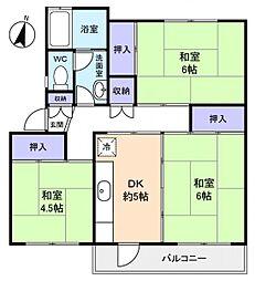 習志野台団地3街区4棟[2階]の間取り