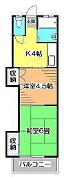 東京都小平市学園東町2の賃貸アパートの間取り