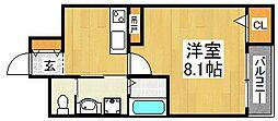 エヌエムトラントウエスト[2階]の間取り