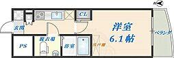 セレニテ高井田 2階1Kの間取り