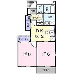 香川県綾歌郡綾川町陶の賃貸アパートの間取り