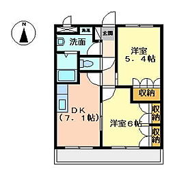 静岡県田方郡函南町平井の賃貸アパートの間取り