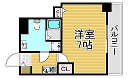 阪神本線 福島駅 徒歩4分の賃貸マンション 6階1Kの間取り