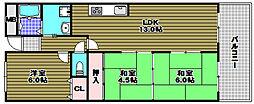 ギャレ金剛[4階]の間取り