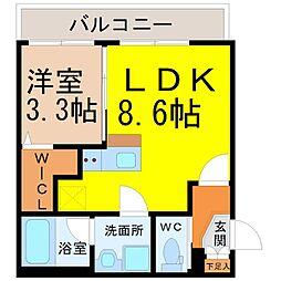 (仮称)幸心2丁目新築アパート B棟[3階]の間取り