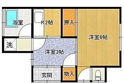 坪井アパート[1F号室]の間取り