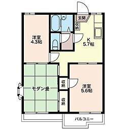 エーデルハイムハマノ B[2階]の間取り