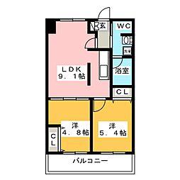 S-FORT福岡東[3階]の間取り