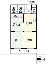 サンライズ浅野[4階]の間取り